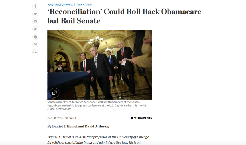 Budget Reconciliation Process and Obamacare