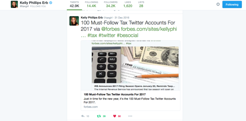 Top 2017 Tax Twitter Follows