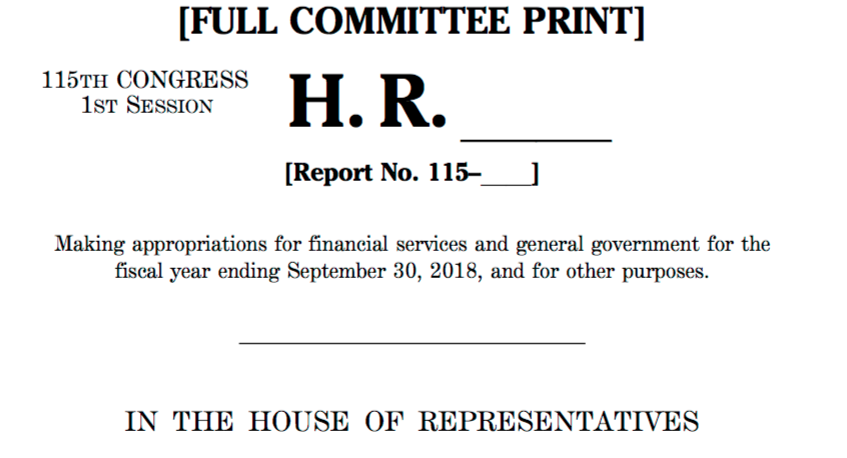 House Appropriations Bill